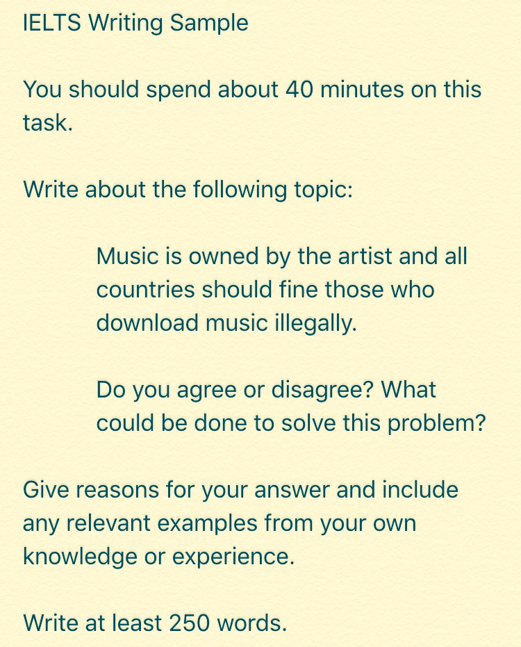 IELTS Writing Part II + Lyrics Training